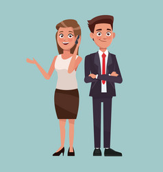 Color background full body set pair executives of vector