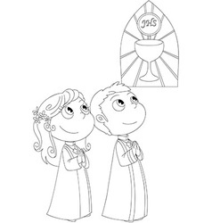 Coloring First Communion vector