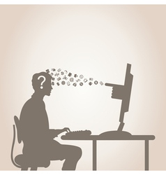 Computer and the person vector image