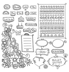cute frames borders and floral elements for diary vector image