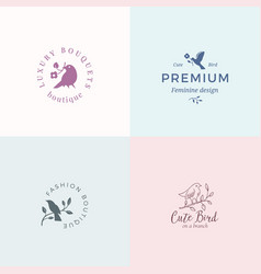 Cute little bird signs or logo templates vector