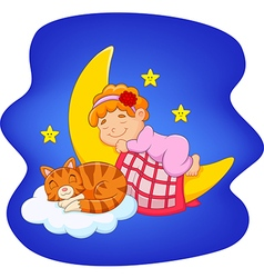 Cute little girl with cat sleeping on the moon vector image
