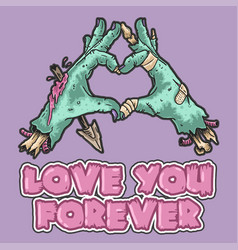 Cute zombie hand love you vector