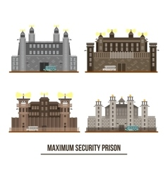 Entrance at maximum security prison with towers vector