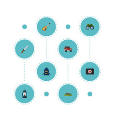 flat icons ship hunting cutter zoom and other vector image