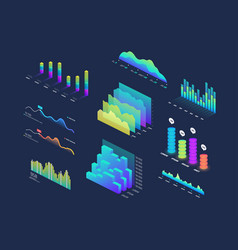 Future tech 3d isometric data finance graphic vector