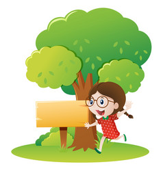 girl running under the tree vector image