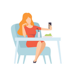 girl taking selfie photo on smartphone while vector image