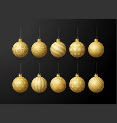 gold christmas tree toy oe balls set isolated on vector image
