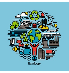 Green ecology and environment flat line icons set vector image