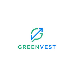 green leaf with initial letter gv vg logo design vector image