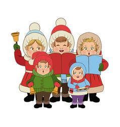 group of people chorus singing christmas songs vector image