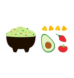 Guacamole dip spread with avocado tomato chips vector