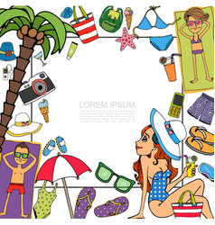 hand drawn beach vacation template vector image