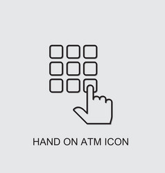 Hand on atm icon vector