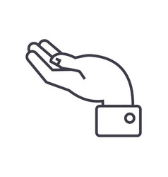 hand support line icon sign vector image