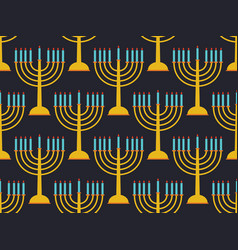 hanukkah seamless pattern candlestick with nine vector image