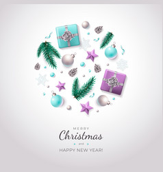 Holiday background with christmas decorations vector