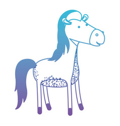 Horse cartoon in degraded blue to purple color vector