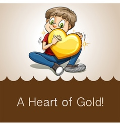 Idiom heart of gold vector image