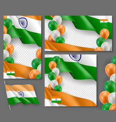 indian patriotic festive posters set vector image