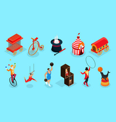 isometric circus elements collection vector image