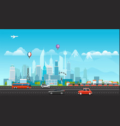 landscape with buildings mountains and vehicles vector image