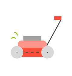 Lawn mower flat design for gardening concept vector
