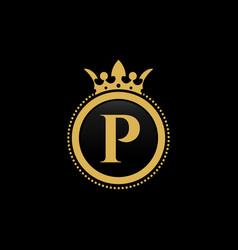 letter p royal crown luxury logo design vector image