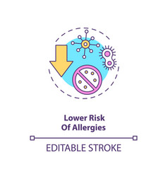 Lower risk allergies concept icon vector