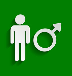 Male sign paper whitish icon vector
