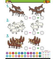 Maths subtraction educational game for children vector