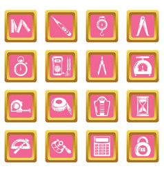 Measure precision icons set pink square vector