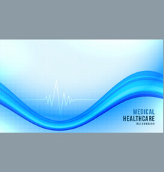 Medical healthcare background with blue wavy shape vector