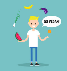 Modern lifestyle go vegan young blond boy vector