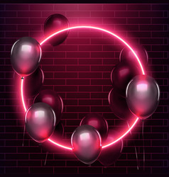 Neon circle with black baloons on brick wall eps vector