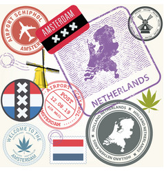 netherlands travel stamps set - holland journey vector image