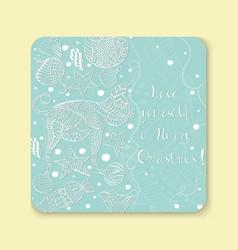 new year greeting card sticker fridge magnet vector image