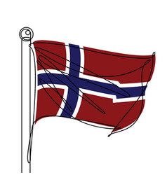norway flag one continuous line abstract icon vector image