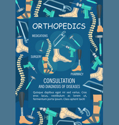 orthopedics medical banner with bone and joint vector image