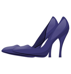Pair of dark blue shoes with high heels isolated vector