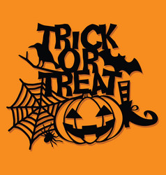 Paper cut silhouette trick or treat halloween vector