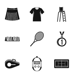 Play in tennis icons set simple style vector image