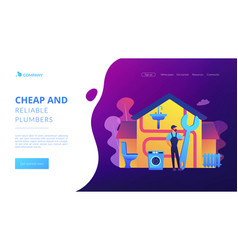 Plumber services concept landing page vector
