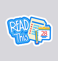 read this sticker social media network message vector image
