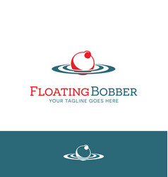 Red and white fishing bobber logo design vector