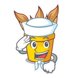 sailor pencil pot shape on the cartoon vector image