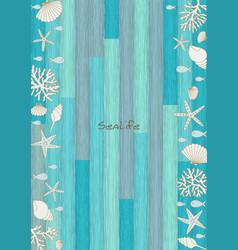 sealife frame on blue wood background vector image