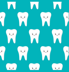 seamless pattern with teeth on a blue vector image
