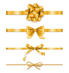set golden ribbons with bows decoration vector image